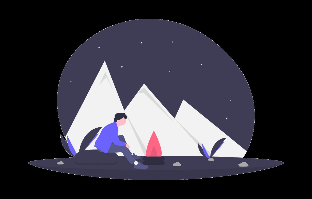 Camper sitzt am Lagerfeuer